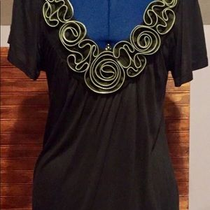Rue 21 Black Rose Design Top